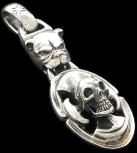 メンズジュエリー・アクセサリー, ネックレス・ペンダント gaboratory gabor Bulldog Battle-Ax On Skull Pendant P-178 silver 925 925