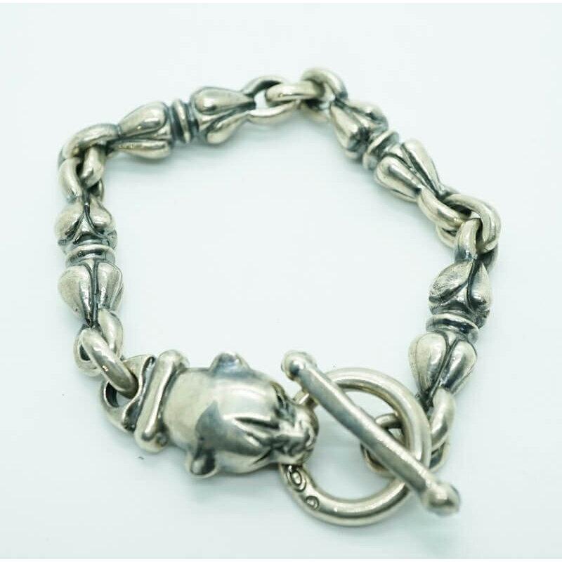 メンズジュエリー・アクセサリー, ブレスレット GABORATORY GABOR Long Neck Panther With Noodle Links Bracelet B-170 925