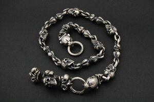 GABORATORY GABOR ガボール ガボラトリー Skull On 4Heart Keeper & 2Panther Heads with Skull & Noodle Links Wallet Chain [WC-08] silver 正規取扱店/シルバー メンズ アクセサリー ウォレットチェーン スカル パンサー ハート 925 シルバー925