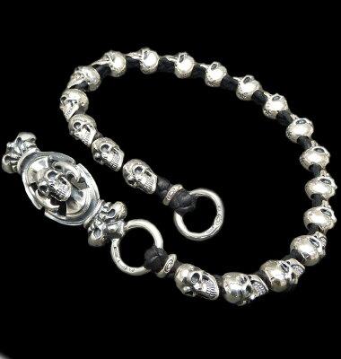 野口強愛用GABORATORY GABOR ガボール ガボラトリーSkull on W crown battle-ax keeper & all 19 skull braided lether wallet chain [WC-14]