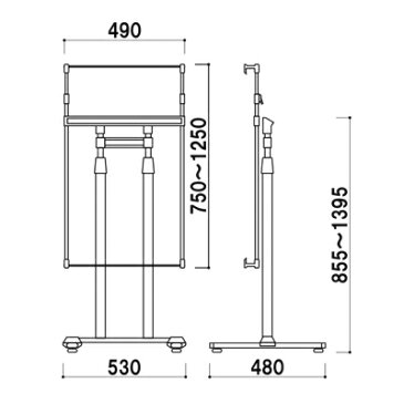 【送料無料】角度調整機能付き パネルスタンドPS-10 B1まで(b1/a1)ステンレス シルバー イーゼル スタンド ディスプレイ 看板 銀