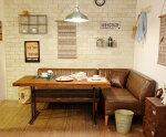 LDセットJMパイン古材140DBRラウンジスタイルにおすすめ☆パイン古材のテーブルとダークブラウンのL型ソファセット