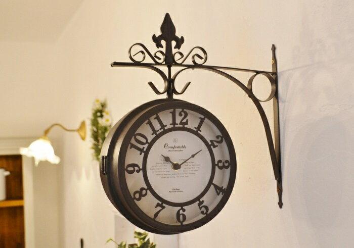 【両面時計 オールドストリートボースサイドクロックBR】両面時計 ボースサイドクロック アンティーク調 かわいい ナチュラルインテリア フレンチカントリー 壁掛け時計 アイアン ポタフルール