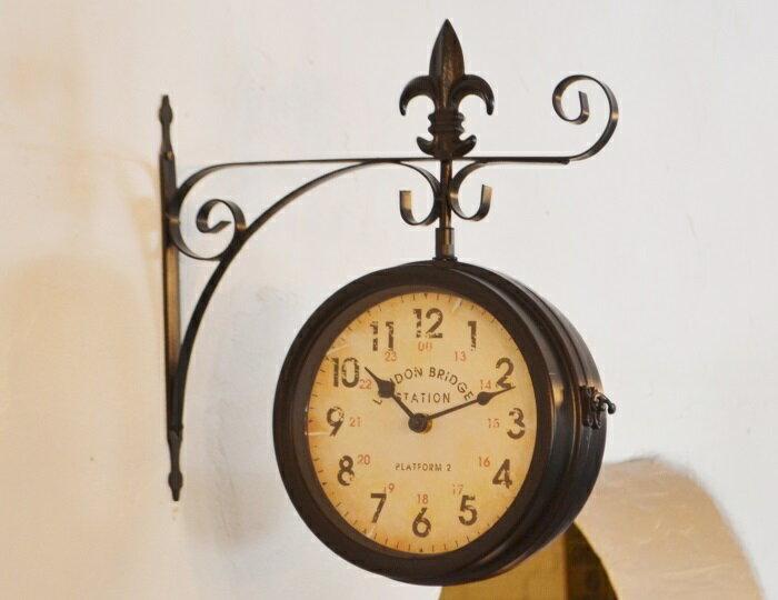 【両面時計 ステーションボースサイドクロックLブラック】両面時計 ボースサイドクロック アンティーク調 かわいい ナチュラルインテリア フレンチカントリー 壁掛け時計 アイアン