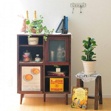 【レトロ調の可愛い収納BOX】本棚としてはもちろんシェルフと合わせて使うと食器棚にもなります!ディスプレイラック コンパクト 省スペース 組み合わせ 収納家具 木製 組立 プレモキャビネット PU100-75F 【送料無料】