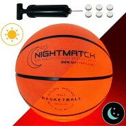 光るバスケットボールNIGHTMATCHナイトマッチLEDライトアップバスケットボール7号球(公式サイズ・重量)空気入れポンプ・予備電池付き