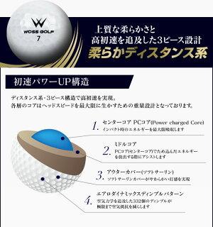 【1ダース】ウォズ(Woss)ゴルフボール1ダース12個入り3ピース高反発系打感ソフト