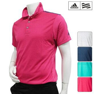 [短袖襯衫派][KFZ84][2016年春夏季款]adidas golf-愛迪達高爾夫球-MENS(男子)CP CLIMACOOL開晃動條紋S/S短袖開領短袖襯衫[頂端][服裝]M,L,O,XO尺寸[高爾夫球用品]