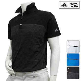 [短袖襯衫派][KFZ96][2016年春夏季款]adidas golf-愛迪達高爾夫球-MENS(男子)CP CLIMACOOL Aeroknit短袖開領短袖襯衫[頂端][服裝]M,L,O,XO尺寸[高爾夫球用品]
