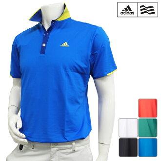 [短袖襯衫派][KGD40][2016年春夏季款]adidas golf-愛迪達高爾夫球-MENS(男子)CP CLIMACOOL kurerikku S/S短袖開領短袖襯衫[頂端][服裝]M,L,O,XO尺寸[高爾夫球用品]