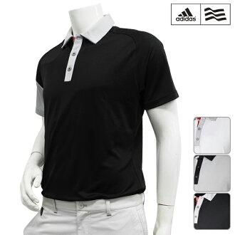 [短袖襯衫派][LBQ09][2016年春夏季款]adidas golf-愛迪達高爾夫球-MENS(男子)CP CLIMACOOL suribuburokkingu短袖開領短袖襯衫[頂端][服裝]M,L,O,XO尺寸[高爾夫球用品]