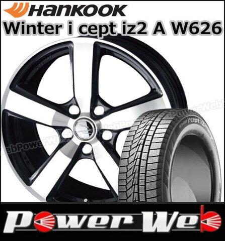 215/50R17 91T Winter i cept iz2 A W626/ハンコック ■CORSAIR 17×7.0 114.3/5H +48 サファイアガンメタリック/ポリッシュ SMACK スタッドレス&ホイール 1台分セット