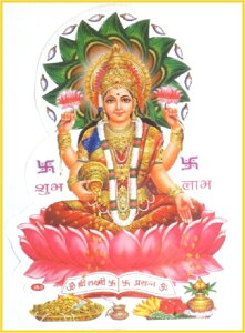 日本でも有名なインドの神様、ラクシュミーのステッカーです。美と豊穣、幸運を司る神様になり...