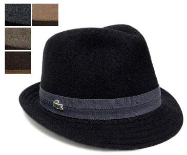 送料無料 LACOSTE ラコステ 中折れハット L3827 ブラック チャコール スモーク ブラウン ベージュ 帽子 フェルトハット 紳士 婦人 メンズ レディース 男女兼用 あす楽ハット(L3827), ブラック