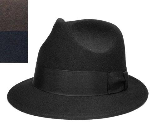 【送料無料】Felt Hat Mannish Hat マニッシュハット Black Grey Navy ブラック グレー ネイビー [ ハット フェルトハット 中折れハット カラー 大きいサイズ メンズ レディース 男女兼用 ]