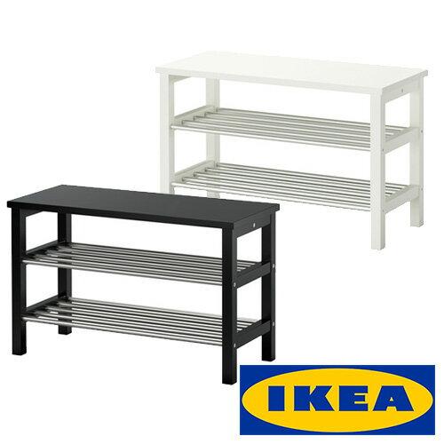 IKEATJUSIGベンチ式靴収納ラックイケアシューシグシューズラック81x34x50cmブラックホワイト玄関シュー