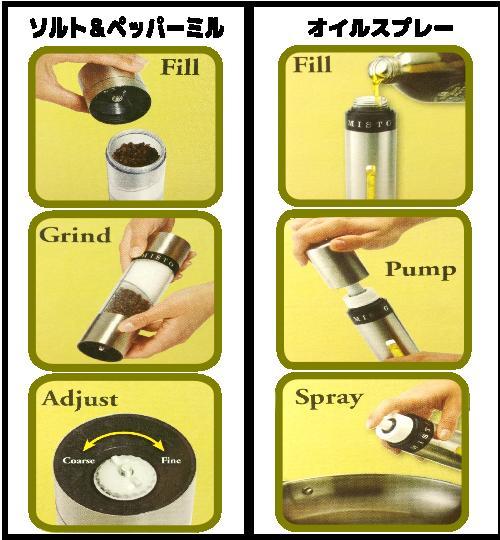 MISTO オイルスプレー & ソルト/ペッパーミル セットミスト スプレー缶 オイル 保存容器Oil Sprayer & Salt/Pepper Grinder SET0750692