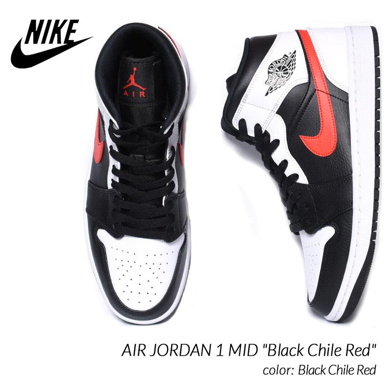 メンズ靴, スニーカー NIKE AIR JORDAN 1 MID Black Chile Red 1 ( 554724-075 )