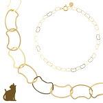 ブレスレット10金10kk10レディース猫ネコねこゴールドチェーンイエローゴールド華奢シンプルジュエリーアクセサリー重ねづけおしゃれ地金プレゼントギフトチェーンブレスレット猫好きさん