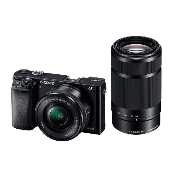 【1年保証】【美品】SONY α6000 ダブルズームキット PZ 16-50mm + 55-210mm ブラック ILCE-6000Y