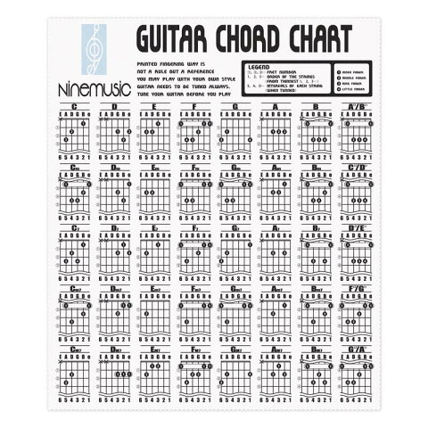 NINE MUSIC《ナインミュージック》Guitar Chord Chart Microfiber Clothes [CL201 WHT/ホワイト]