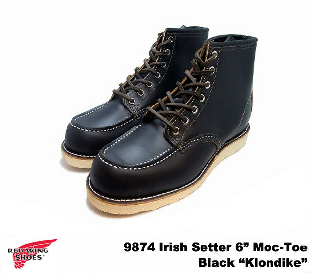 ブーツ, ワーク 2 6 RED WING 9874 Irish Setter 6Moc Toe Black Klondike