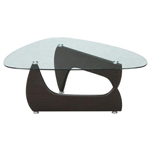 不二貿易96142ガラスセンターテーブルルークウォルナット【同梱配送】【き】【沖縄・北海道・離島配送】