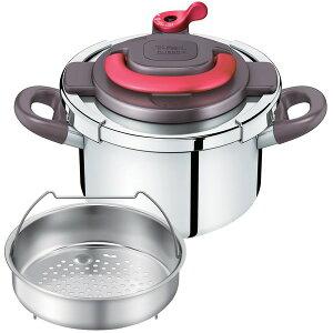 ハンドルを上げ下げするだけで簡単にふたの開閉ができる圧力鍋です。【送料無料】T-fal P436043...