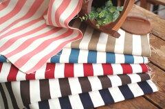 8号帆布コットン綿生地 マリンボーダー柄■《ネイビー》《ピンク》《ベージュ》《ブルー》《ブ...