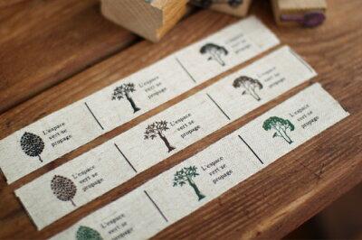 Pres-deオリジナル 木のリネンタグテープ 9タグ分セット■ハンドメイド作品のワンポイントのラ...