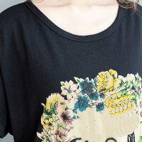 ゆったりTシャツトップスレディースお洒落七分袖半袖カットソーブラウス春夏無地透け大きめ大きいサイズVネック体型カバシンプルふんわり袖カジュアルホワイトレッド