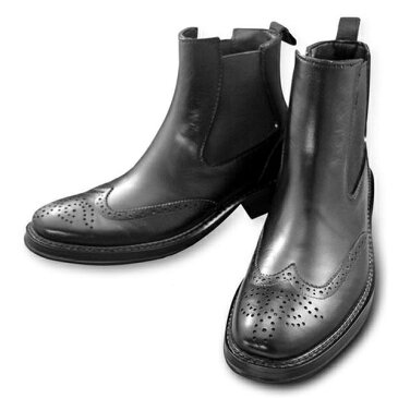 ラバー メンズ サイドゴアレインブーツ(完全防水加工) ブラック GB3139 (M)25.0〜25.5cm [ラッピング不可][代引不可][同梱不可]