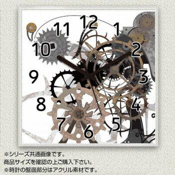 MYCLO(マイクロ) 壁掛け時計 アクリル素材(クリア) 四角 30cm 機械(歯車) com1690
