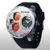 PIXO_腕時計PIXO-5_STEEL+ORANGE