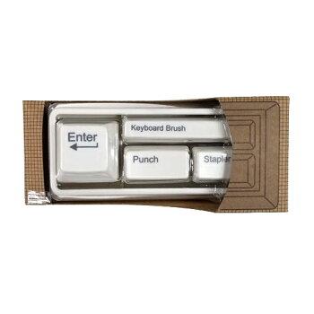 GLOBE(グローブ)キーボードステーショナリーセット(ホワイト)GD304WHpud517ステープラパンチクリップホルダーキーボードブラシキーボード型キーボードモチーフデザイン文具文房具かわいいおしゃれおもしろ雑貨グッズ