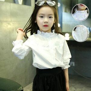 70a1cf5cb4c65 長袖ブラウス シャツ 入学式 子供服 キッズ フォーマル 女の子 子供 白 合唱 発表会 白