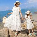親子ペアルック ワンピース 小花柄 シフォン 半袖 女の子 リゾート カジュアル系 ママと娘 夏物 子供服 レディース