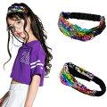 子供髪飾り女の子カチューシャヘアバンドヒップホップヘッドバンドヘアゴムプレゼント贈り物キッズヘアアクセサリーダンス用スパンコール