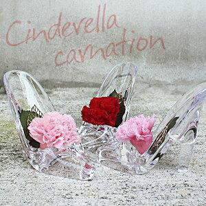 【あす楽】プリザーブドフラワー カーネーション 枯れないお花 ガラスの靴 硝子のくつ レディース シンデレラ アクリル リングピロー?クリアケース付?内祝い_お返し_結婚祝い_お誕生日_出