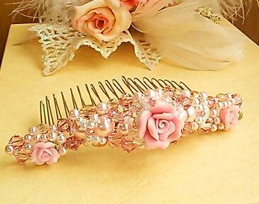薔薇のコームカチューシャ(ピンク)樹脂粘土,ティアラ,ウェディング小物・結婚式・二次会・ヘッドドレス・ブライダルアクセサリー・ヘッドアクセ・髪飾り