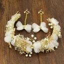 自然がいっぱい♪リーフモチーフのイヤリングと髪飾りセット・カチューシャ...