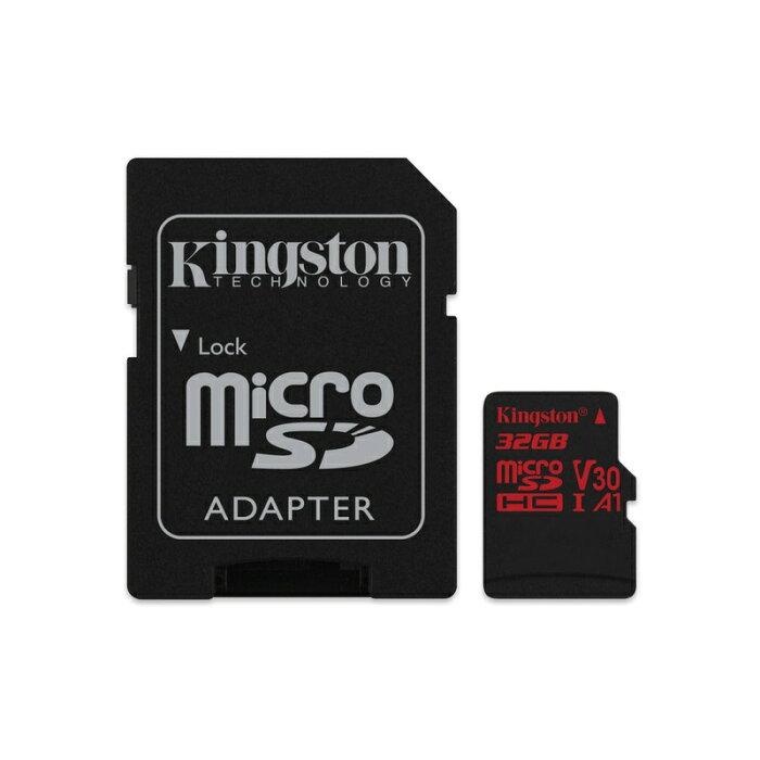 キングストン microSDHCカード Canvas React UHS-I(U3) A1規格対応 32GB SDCR/32GB カードアダプタ付 バレンタイン バレンタインデー