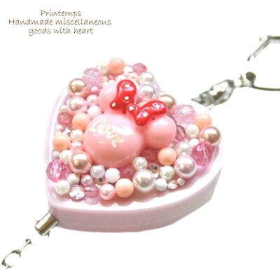 防犯ブザー選べるデザインスイーツデコハート型ピンク防犯アラーム小学生女の子プレゼント