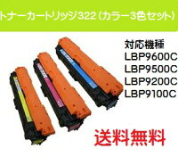 CANONトナーカートリッジ322お買い得カラー3色セット【純正品】【翌営業日出荷】【送料無料】【LBP9600C/LBP9500C/LBP9200C/LBP9100C】
