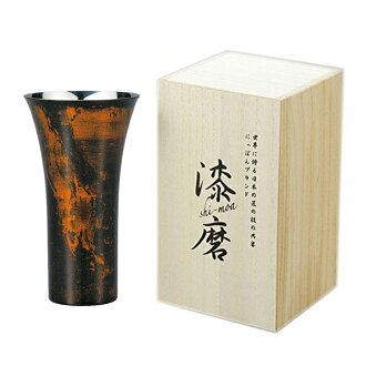 【Japan】Lacquerware style Dual structure stainless cup (380ml)Black