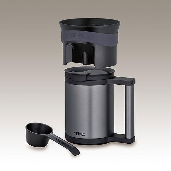 Mug of thermos a vacuum insulating keeping-warm office mug & Coffee dripper(Black)
