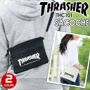 【ラバーバンドプレゼント】 THRASHER スラッシャー サコッシュ ミニショルダー サコッシュバッグ メンズ レディース 男女兼用 ショルダーバッグ ブラック アイボリー THC101