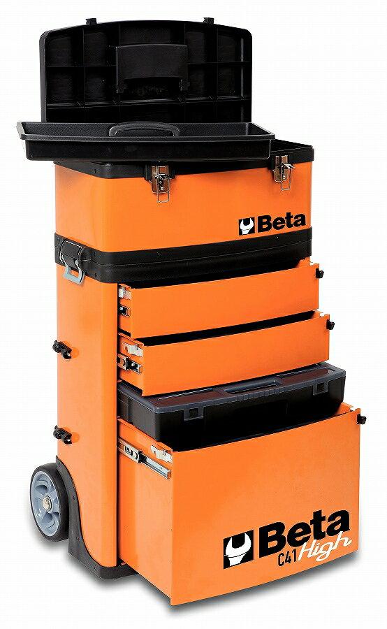 Beta(ベータ)ツールトロリー【オレンジ】(工具箱 ツールボックス キャビネット)〔C41H〕C41H:プロツール