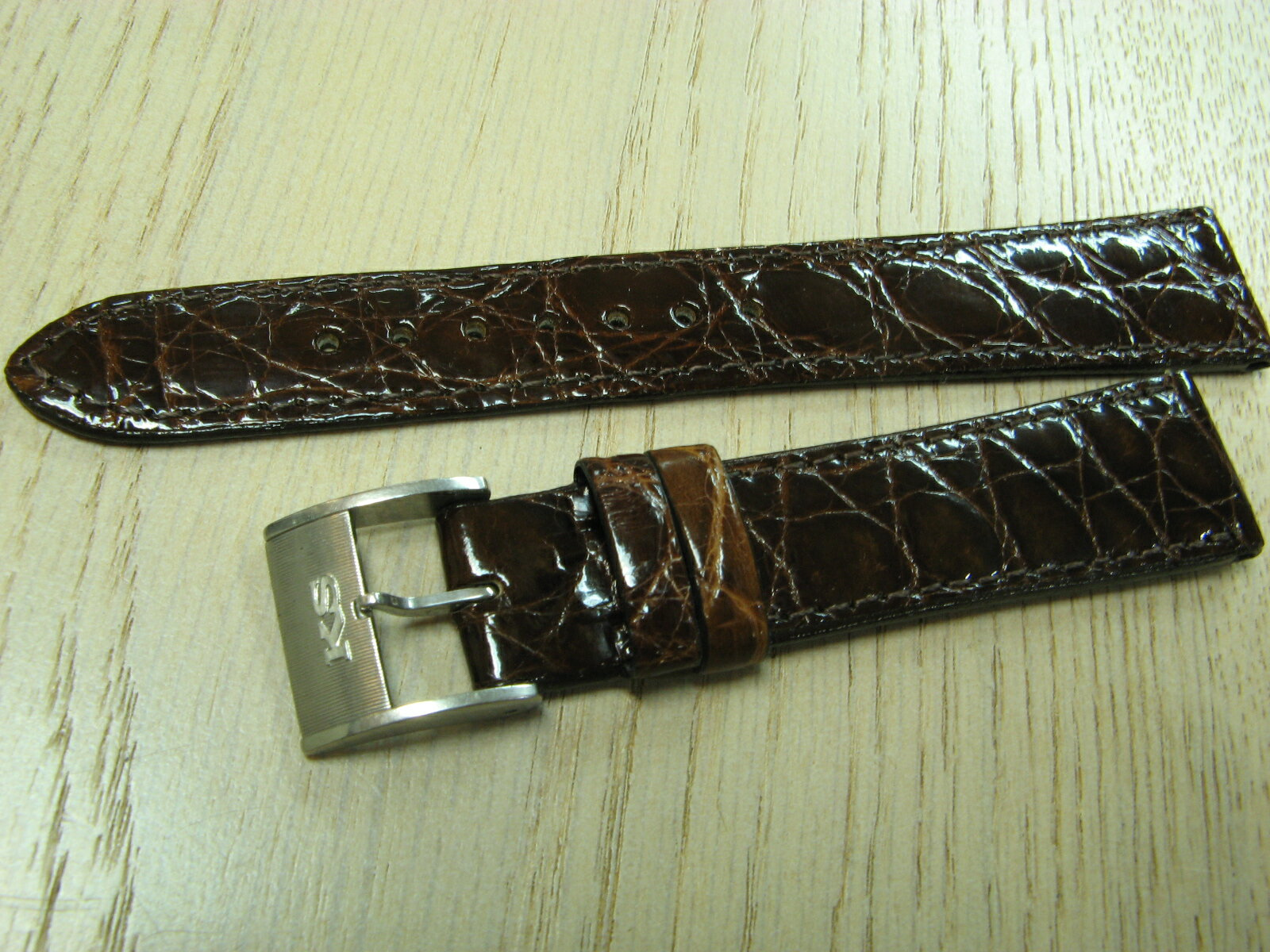 Best buy set! Crocodile leather belt (new) KING SEIKO with buckle-Brown