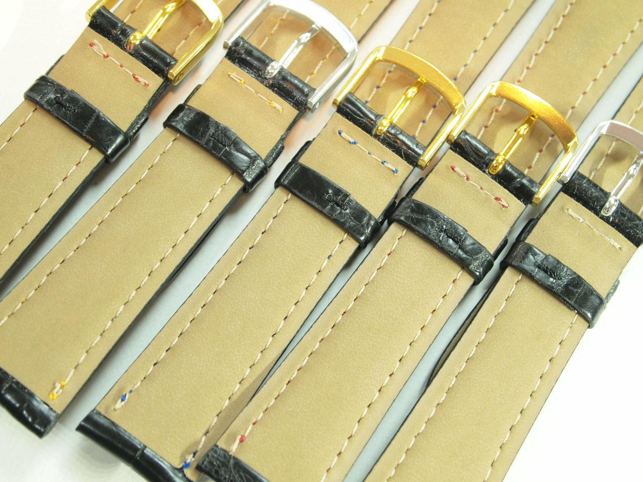 最高級クロコダイル革時計ベルト カラーステッチ5色18ミリ19ミリ20ミリ《オイルマット仕上げ》♪お得な ミニバネ棒はずし バネ棒2本 セット